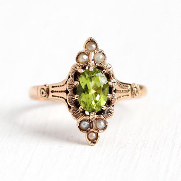 Peridot & Pearl Ring - 10k Rosy Yellow Gold .89 CT Genuine Green Gemstone Fine Jewelry - Late 1800s Size 7 1/2 Navette August Birthstone