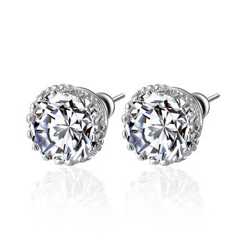 Classic Small Round Stud Earrings High Quality Multi Prongs 8mm 2ct CZ Diamond Earring Studs Earrings Jewelry CER0001-B