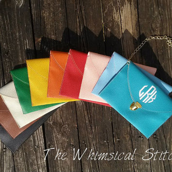 MONOGRAM CLUTCH PURSE, Monogram Purse, -Envelope Purse - Wristlet, Crossbody Chain, Monogrammed with your Initials, Sorority Gift
