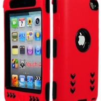 Bastex Hybrid Armor Case for Apple Ipod Touch 4g - Red Silicone Skin / Black Hard Cover Arrow:Amazon:Cell Phones & Accessories