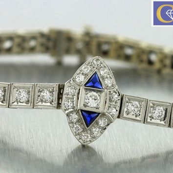 Antique Art Deco Estate Platinum 2.25ctw Diamond Blue Sapphire Tennis Bracelet