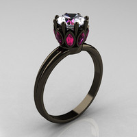 Classic 14K Black Gold Marquise Pink Sapphire 1.0 Carat White Sapphire Solitaire Ring R90-14KBGPSWS
