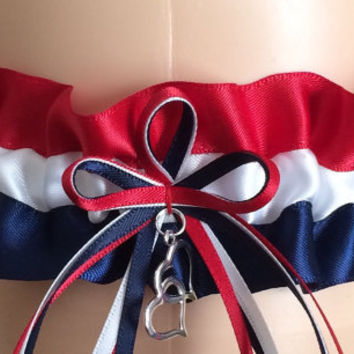 Red, White, and Navy Blue Wedding Garter, Bridal Garter,  Prom Garter, Keepsake Garter, Homecoming Garter