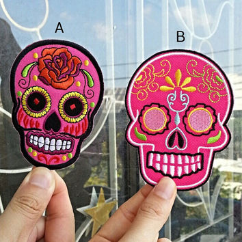 1 Dollar Shipping - Iron On Patch - Neon Pink Tattoo Sugar Skull Patch / Applique - 2 styles