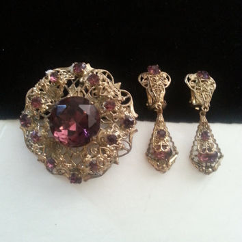 Purple Rhinestone Demi Parure ** Vintage Brooch Pendant Earring Set ** 1930's  1940's Vintage Art Deco Jewelry