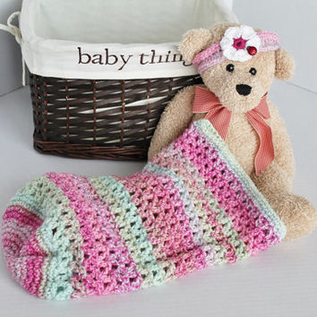 Baby Cocoon with Flower Headband - Pink Multi