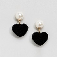ASOS Furry Heart Drop Earrings at asos.com