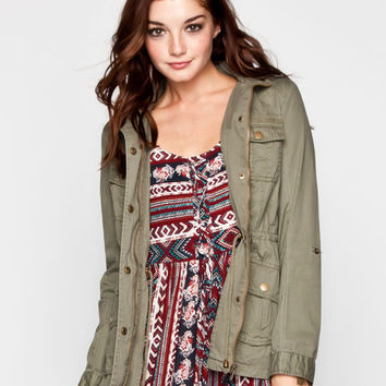Full Tilt Roll Sleeve Womens Cargo Anorak Jacket Olive  In Sizes