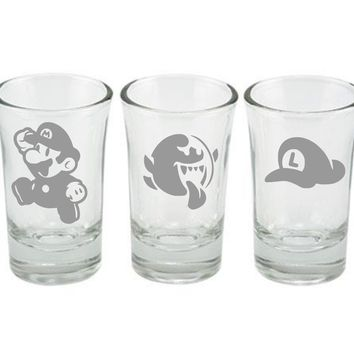 Super Mario Shot Glass Set, Mario, Boo, Luigi Hat