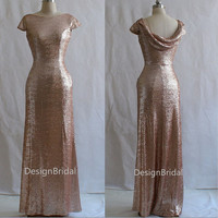 Cowl Back Long Evening Dress,Full Length Evening Prom Gown,Unique Bridesmaids Dress for Wedding Party,Light Gold Sequins Formal Dresses
