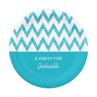 Trendy Pencil Turquoise Chevron Zigzags With Name 7 Inch Paper Plate