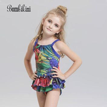 New Flounce Straps Swimsuit One Piece Swimwear For Girls Quick Dry Backless Kids Beach Wear Cute Lace-Trim Bathing Suit
