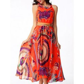 Stylish Women's Peacock Feather Printed Chiffon Dress