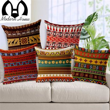 Vintage cotton linen Africa geometry stripe wave cushion cover bohemian decorative throw pillows sofa pillowcases Product Beige