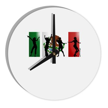 "Mexican Flag - Dancing Silhouettes 8"" Round Wall Clock  by TooLoud"