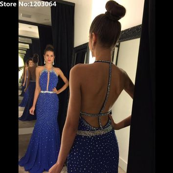 Heavy Sequined New Arrival Sexy Open Back Blue Prom Dresses 2016 Fashion Custom Made Elegant Halter Neck Blue Mermaid Prom Dress