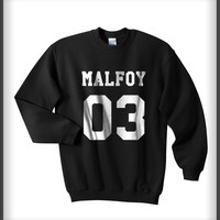 Malfoy 03 White Ink on Front Harry Potter Unisex Crewneck Sweatshirt