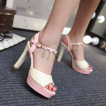 Design Summer Plus Size Rhinestone Wedge Thick Crust High Heel Stylish Sandals [4920245892]