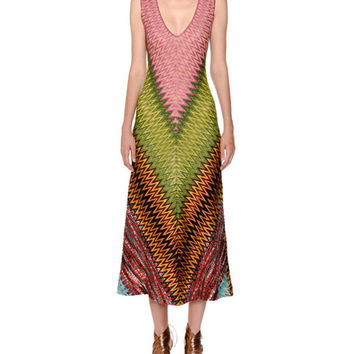 Missoni Sleeveless V-Neck Zigzag Knit Dress