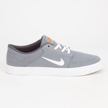 Nike Sb Portmore Canvas Mens Shoes Cool Grey/White-Univ Orange  In Sizes