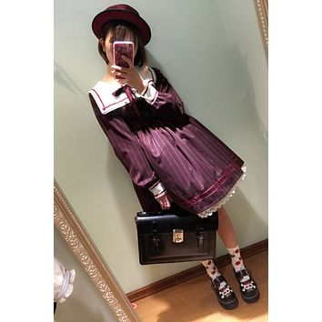 2017 Mori girls Japanese style sailor collar long sleeve stripe bowknot dress Lolita cosplay costumes uniform vestidos