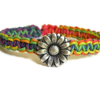 Rainbow macrame hemp bracelet daisy sunflower pewter summer boho chic valentines day st Patricks day
