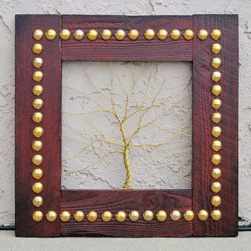 """Amy Giacomelli Original Wire Tree Abstract Sculpture Painting ... Wire tree on salvaged frame... Perfect gift size 16"""" x 16"""""""