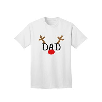 Matching Family Christmas Design - Reindeer - Dad Adult T-Shirt by TooLoud