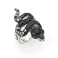 John Hardy - Legends Cobra Black Chalcedony, Multicolor Sapphire, Diamond & Sterling Silver Ring - Saks Fifth Avenue Mobile