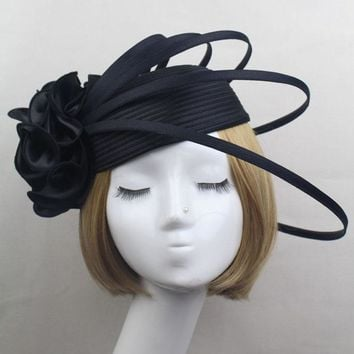 Ladies Black/Ivory/Purple Satin Flower Fascinator Hat Vintage Fashion Women wedding Party Elegant Fascinators  Hair Accessories