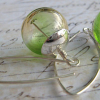 Hollow Glass Earrings, Apple Green and Sterling Silver Hand Blown Glass Earrings