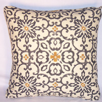 """Medallion Throw Pillow Black Gold Ivory Hand Print 17"""" Square Cotton Ethnic Boho Moroccan Ready Ship Insert Included"""