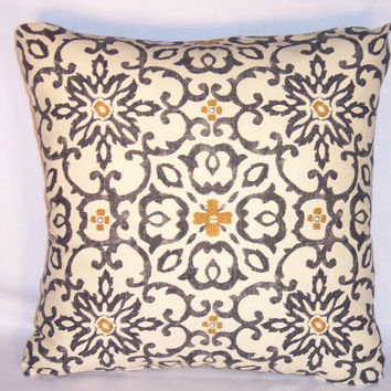 "Medallion Throw Pillow Black Gold Ivory Hand Print 17"" Square Cotton Ethnic Boho Moroccan Ready Ship Insert Included"