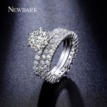 NEWBARK 3 Circles Ring 1.5 Carat Round CZ 6 Prongs Setting Silver Color Promise Rings For Couples Wedding Jewelry