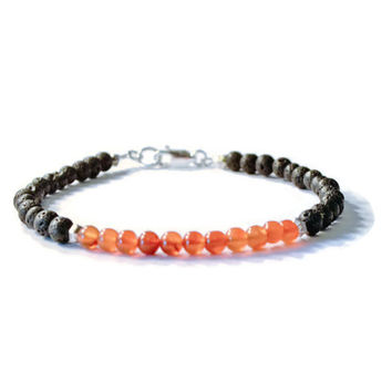 Carnelian and Lava Stone Aromatherapy Essential Oil Diffuser Bracelet
