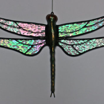 "Stained Glass DRAGONFLY Suncatcher, ""Sparkling Crystal Ice"", Clear Rainbow Iridescent Wings & Handcast Metal Body, USA Handmade Original"