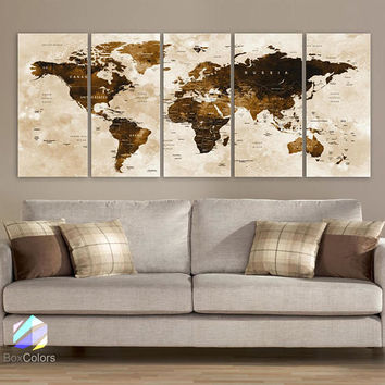 "XLARGE 30""x70"" 5 Panels 30""x14"" Ea Art Canvas Print Watercolor Brown Map World Push Pin Travel Wall decor Home (framed 1.5"" depth)M1801"