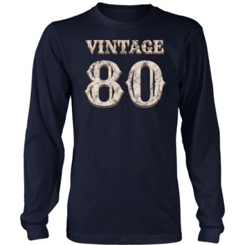 Men's Vintage 80 Long Sleeve Tshirt 38th Birthday Gift for 38 Year Old