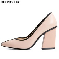 OUQINVSHEN Genuine Leather High Heels Pumps Casual Fashion Women Pumps Pointed Toe Square heel Ladies Pumps Single Shoes Brand