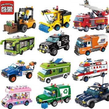 City Princess Outing Bus Police Touring Car Truck Building Blocks Sets Bricks Model Kid Classic Toys Compatible Legoings Friends
