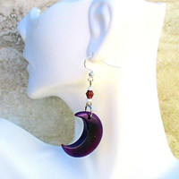 Tagua Nut Earrings, Purple Earrings Moon, Ultra Violet Earrings, 925 Silver Jewelry, Lunar Earrings, Luna Earrings, Gift for Her 2-1/4in