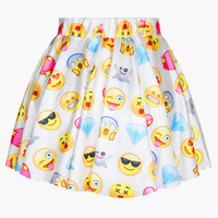 White Emoji Print Skater Mini Skirt