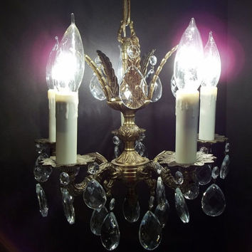 One Petite Brass Crystal Chandelier 5 Arm Five Light Ornate Vintage Crystal Chandelier Hollywood Regency DD 722 733 Two Matching Available