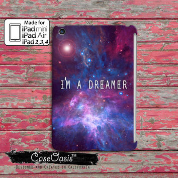 I'm A Dreamer Quote Galaxy Space Tumblr Inspired Cute Purple and Pink Stars Custom iPad Mini, iPad 2/3/4 and iPad Air Case Cover
