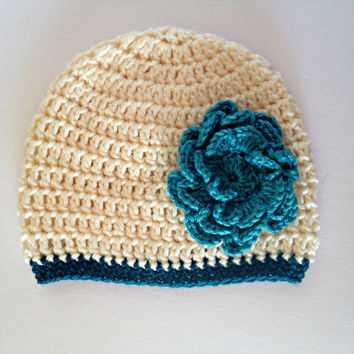 crochet baby hat, baby flower hat, 6 month girl, baby girl hat, crochet baby beanie, teal beanie, infant girl hat, crochet flower hat