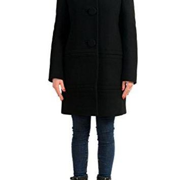 Moncler Women's Caines Black 100% Wool Hooded Insulated Coat Sz 1 US S