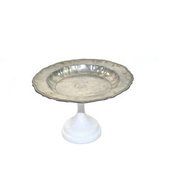 Vintage Silver Cake Plate Pewter Cake Plate Silver Cake Stand Silver Cupcake Stand Silver and White Cake Plate
