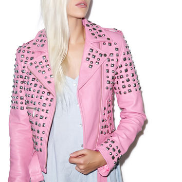 Kill Star Studded Leather Jacket Pink