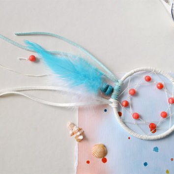 Mini Dreamcatcher, Sea Dream catcher, Turquoise, Coral, White, Sky, Ocean Inspired, Wall Hanging, Wall Decor, Car Accessories, Room Decor