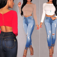 Sexy Backless Long Sleeve Crop Top T Shirts O Neck Back Zipper Top Fashion Solid Colors E555
